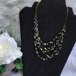GUC Multi-Strain Green Beaded/Rhinestone Necklace